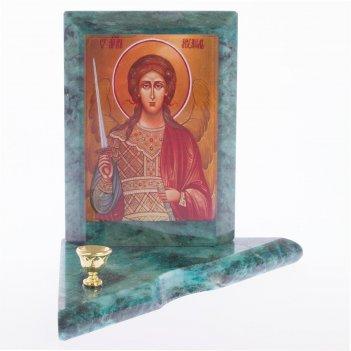 Икона с подсвечником архангел михаил малая змеевик 95х95х100 мм 350 гр.