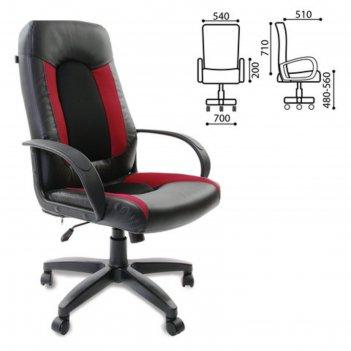 Кресло офисное brabix strike ex-525, экокожа чёрная, ткань чёрная/бордовая