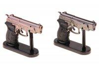 Зажигалка пистолет двойное дуло, пьезо, на подставке