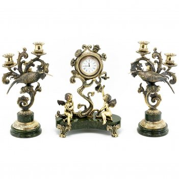 Каминные часы колибри с канделябрами камень змеевик