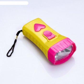 Фонарик яркость ft-9918, 1 led, кнопка в виде сердца, микс, 10х4.9х3.4 см