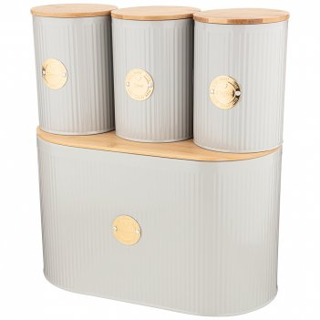 Набор agness хлебница 2 в 1 34*18*20 см, банка для сыпучих 11*15,5 см 3 шт