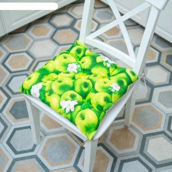 Подушка на стул «ароматные яблоки», размер 45x45 см, рогожка