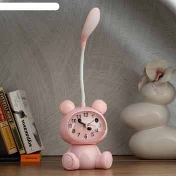 Часы-светильник мишка  led, с будильником, 3 aa. usb. 5 вт, дискр. ход, ро