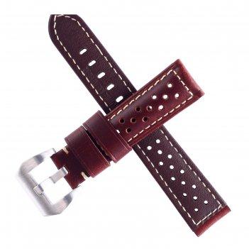 Ремешок для часов bugert 22 мм, натуральная кожа, l=20 см, коричневый с пе