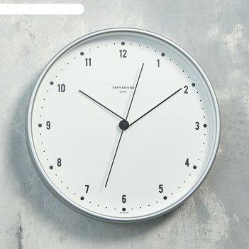 Часы настенные круглые классика, белый обод, 30х30 см