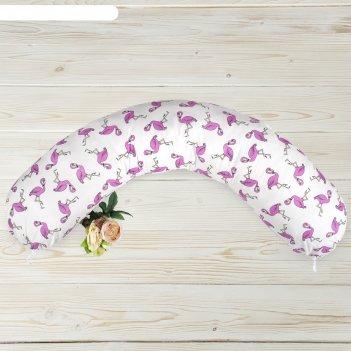 Подушка для беременных, размер 25 x 170 см, принт фламинго