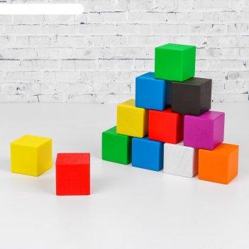 Кубики деревянные изучаем цвета 12 шт (8 цв.)