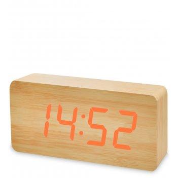 Ял-07-03/ 6 часы электронные бол. (жёлтое дерево с оранжевой подсветкой)