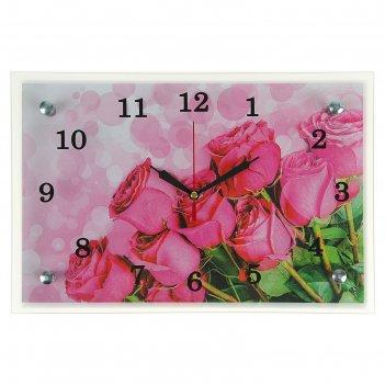 Часы настенные, серия: цветы, розовые розы, 20х30  см, микс