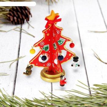 Сувенир новогодний ель на подставке (с варежками)