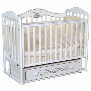 Детская кровать bellini letizia elegance автостенка, маятник, цвет белый