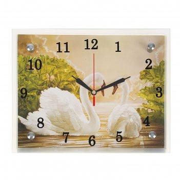 Часы настенные, серия: животный мир, лебеди, 20х25  см, микс