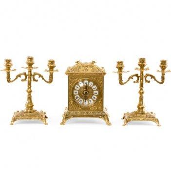 Часы каминные ларец и 2 канделябра на 3 свечи, 3 предм.