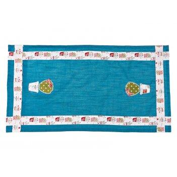 Дорожка на стол 40*79 смлетняя веранда,100% хлопок,синий