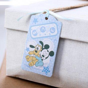 Шильдик на подарок (6 шт.) малыш: микки маус, 5x9 см