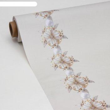 Клеёнка столовая на ткани «жемчужный цветок», ширина 137 см, рулон 20 метр