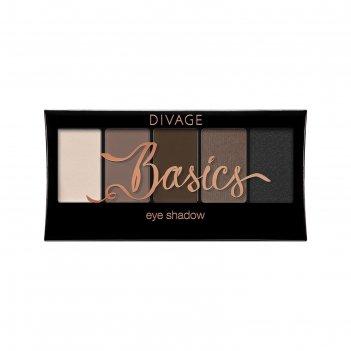 Палетка теней для век divage, palettes eye shadow, цвет basics