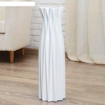 Ваза керамика напольная геометрия 16*60 см, грани, белая