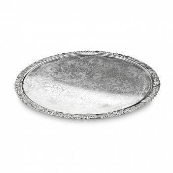 Поднос круглый, диаметр: 28 см, материал: нержавеющая сталь, серебро, qa-0