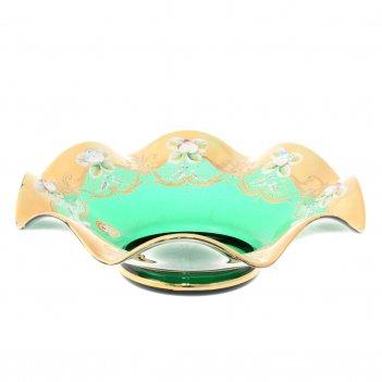 Фруктовница bohemia лепка зелёная веер 25см