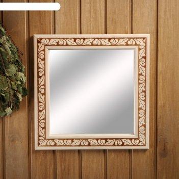 Зеркало настенное лепесток для бани, 38x38 см