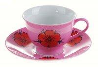 Набор чайный камбоджа, 2 предмета: чашка 180 мл, блюдце, розовый