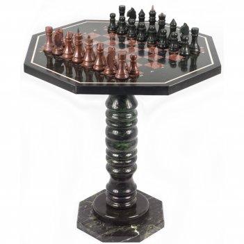 Шахматный стол с каменными фигурами змеевик лемезит 600х600х620 мм