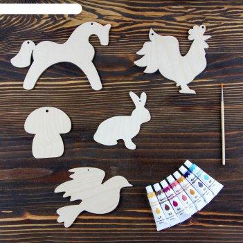 Набор для творчества «животные», №2, 5 фигурок, акриловые краски, кисть, б