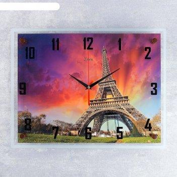 Часы настенные, серия: город, эйфелева башня на закате, 35х45 см