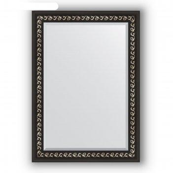 Зеркало с фацетом в багетной раме - черный ардеко 81 мм, 75 х 105 см, evof