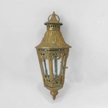 Фонарь садовый подвесной, под свечу,  золотая патина