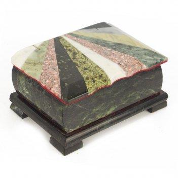 Шкатулка с мозаикой креноид змеевик офиокальцит мрамор 150х90х65 мм 1030 г