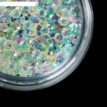 Стразы для декора, 2 мм, цвет голографический