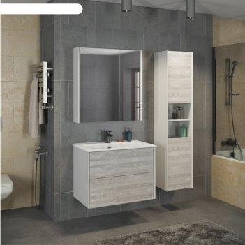 Зеркало-шкаф comforty «женева-75» дуб белый