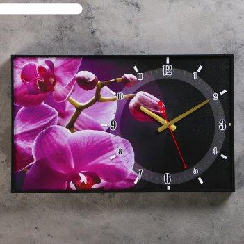Часы настенные, серия: цветы, розовые орхидеи, 37х60  см, микс