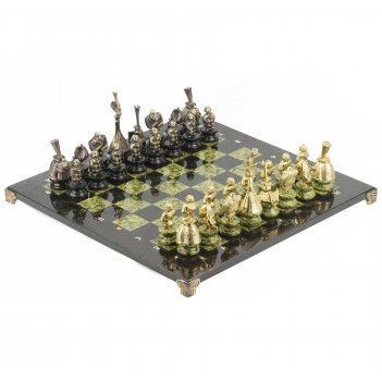 Шахматы русский стиль бронза змеевик 400х400 мм 14 кг