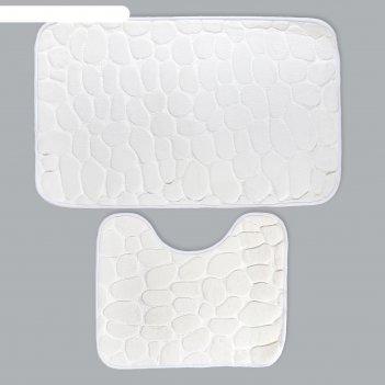 Набор ковриков для ванной и туалета галька 2 шт, 50х80, 39х50 см, цвет бел