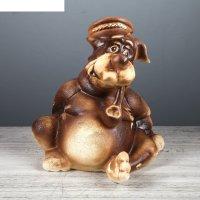 Фигура садовая собака толстопуз, шамот 25 x 27 x 25 см