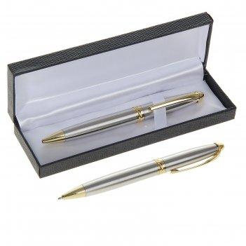 Ручка шариковая подарочная поворотная в кожзам футляре гравюра