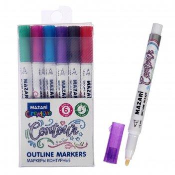 Набор маркеров-красок с контуром contour,6 цветов