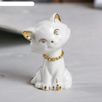 Сувенир белая кошка с ошейником из страз 8х5,5х4 см