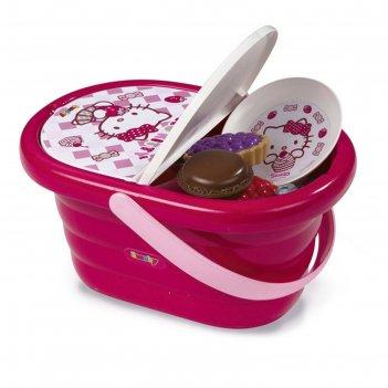 Набор посудки в корзине для пикника hello kitty, 24084