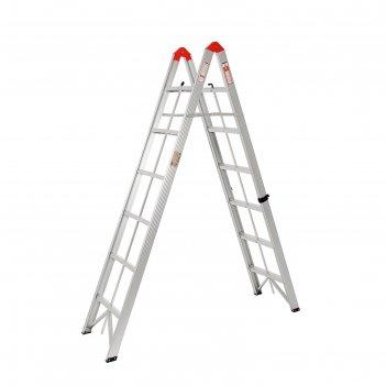 Лестница двухсекционная tundra comfort, 2х6 ступеней, алюминиевая, складна