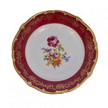 Блюдо круглое глубокое 33см.с.петербург красный
