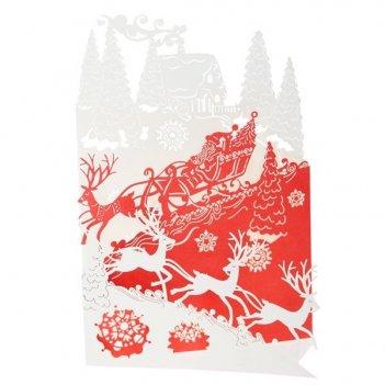 Новогодняя открытка в конверте, 17х12 см
