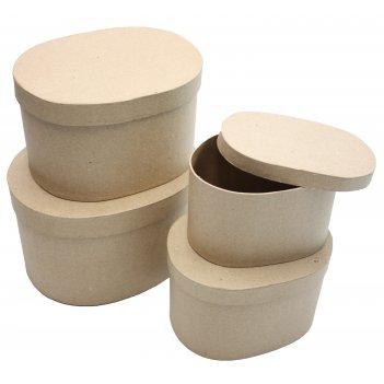 Набор из 4-х коробочек из папье-маше, овал, макс. 20 х 16 х 12 см