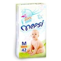 Подгузники детские mepsi-премиум m 6-11 кг, в упаковке 42 шт