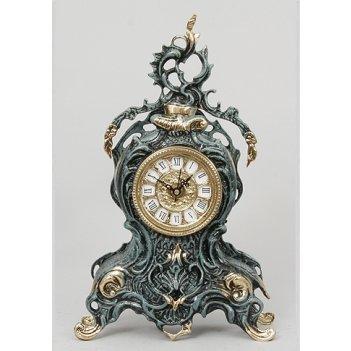 Часы из бронзы с завитком virtus синий 35х21см 5727