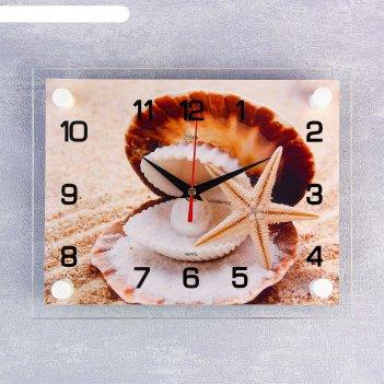 Часы настенные, серия: море, ракушка, 20х26  см, микс
